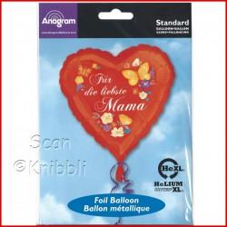 Folienballon Herz für Mama auch für Luftbefüllung