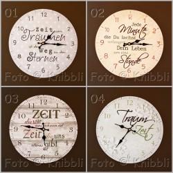 Uhr mit Spruch und Grafik ca 28 cm Auswahl aus 4 Sprüchen