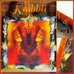 mystic energy creatures interacting Feuer - Feder-Schmuck-Rahmen