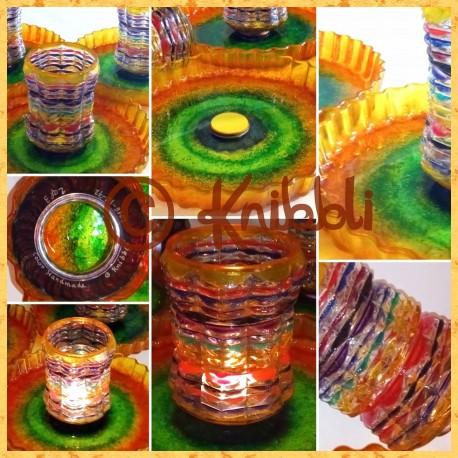 Kunst-Glasmalerei als Licht und Ablage Funktions-Set