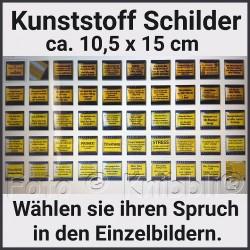 Schild Kunststoff ca 10,5 x 15 cm Auswahl aus 48 Texten