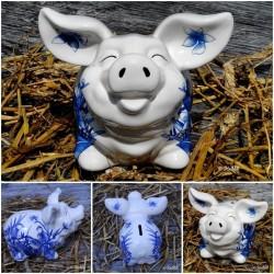 Sparschwein Kunst Weiß Blau