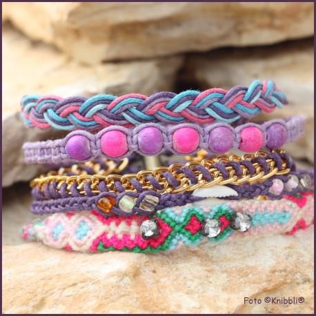 5 fach Armband Lila Bunt