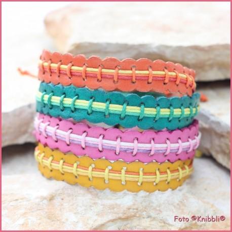 Set 4 Leder Armbänder Regenbogen Styl Nr 1