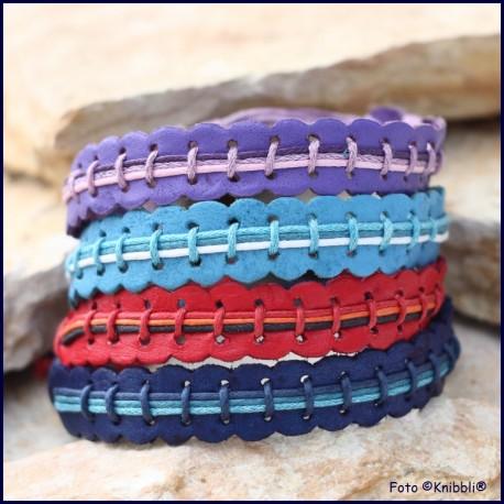 Set 4 Leder Armbänder Regenbogen Styl Nr 2