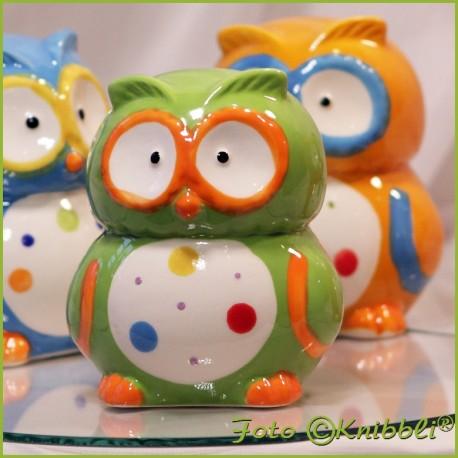 Keramik Spardose Eule Grün Bunt