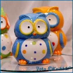 Keramik Spardose Eule Blau Bunt