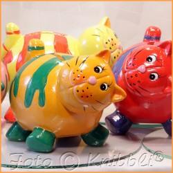 Keramik Spardose Katze Orange-Grün