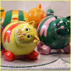 Keramik Spardose Katze Gelb-OrangRot