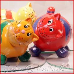 Keramik Spardose Katze Rot-Blau