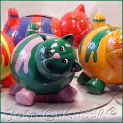Keramik Spardose Katze Grün-AltPink