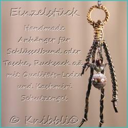 Anhänger Einzelstück Echt Leder Schlüsselanhänger oder für Tasche Rucksack Geldbörse usw.