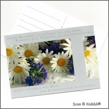 Postkarte Blumen mit Grußspruch