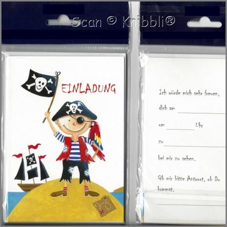 Einladungskarte Klappkarte mit Umschlag Pirat