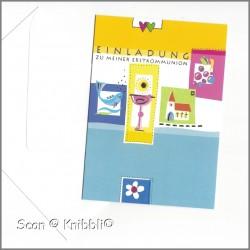 Einladungskarte mit Umschlag Kommunion 005