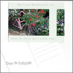 Postkarte Blumen Fahrrad mit Grußspruch