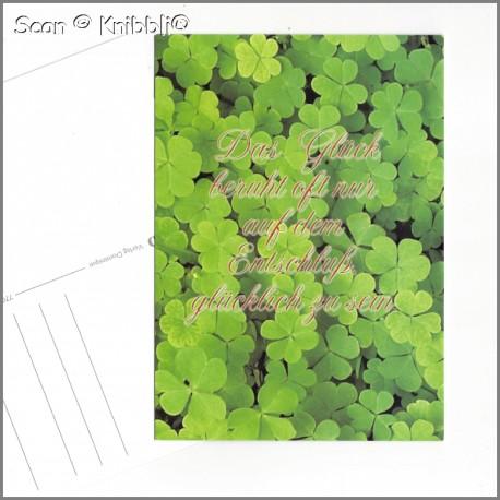 Postkarte GlücksKlee mit Grußspruch