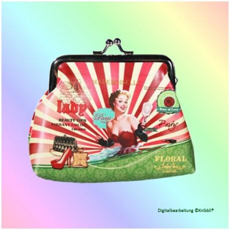 Geldboerse Motiv Retro Lady Rot-Bunt