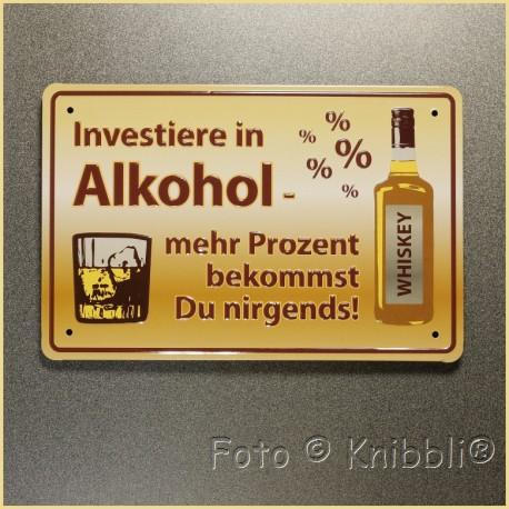 Metall Schild 12,5x19 cm Prägung Spruch 17